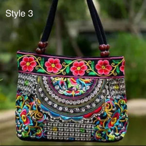 Handbags - Boho Embroidered Flowers/Butterflies Handbag- NWT